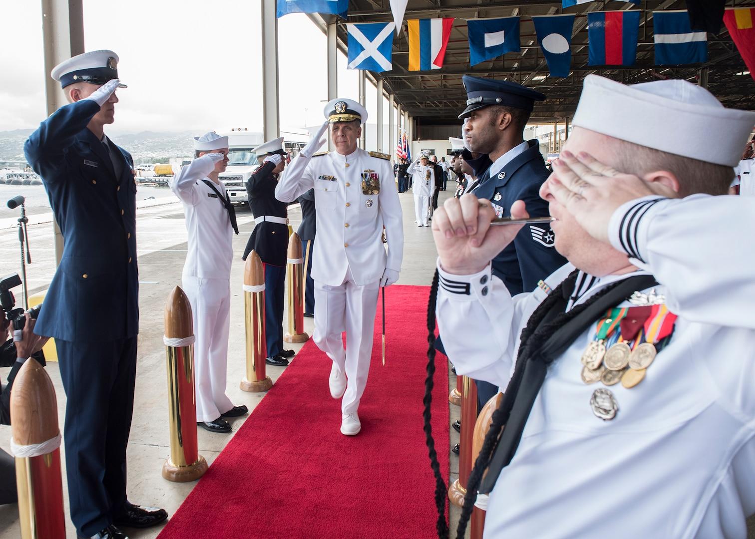 Adm. Davidson Piped Aboard as 25th Commander, U.S. Indo-Pacific Command