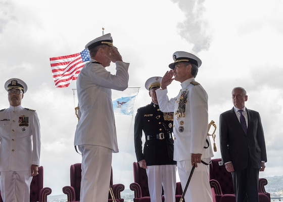 Adm. Davidson Relieves Adm. Harris as Commander, U.S. Indo-Pacific Command