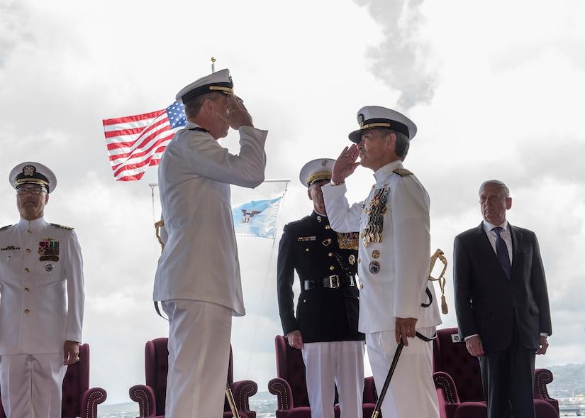 Adm. Davidson Relieves Adm. Harris as Commander, U.S. Indo-Pacific Command