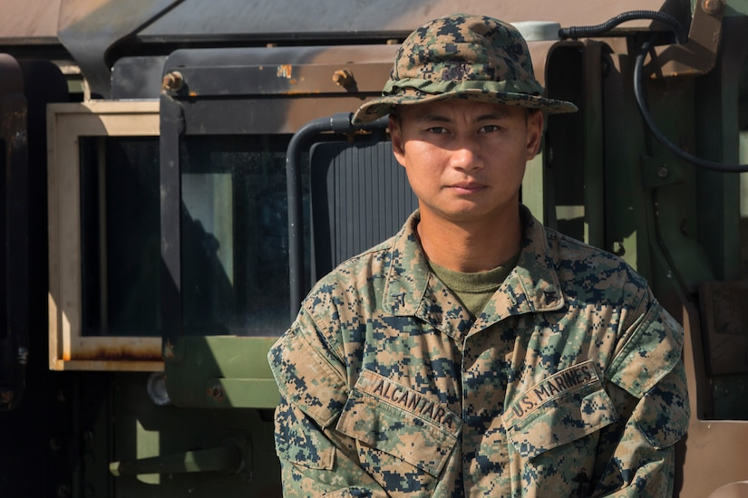 Marine Lance Cpl. Nicoleandr Alacantara poses for a photo at Colonel Ernesto Ravina Air Base during Exercise Balikatan 2018 in Tarlac, Philippines, May 11, 2018.