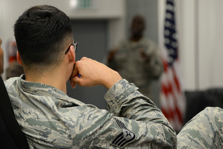 A noncommissioned officer listens to a panel of senior noncommissioned officers at the second annual Atlantic Stripe Conference at the U.S. Air Forces in Europe and Air Forces Africa conference room on Ramstein Air Base, Germany, May 17, 2018. During the professional development conference NCOs listened to leaders, mentors, and guest speakers advise them on different fundamentals and principles of leadership. (U.S. Air Force photo by Airman 1st Class D. Blake Browning)