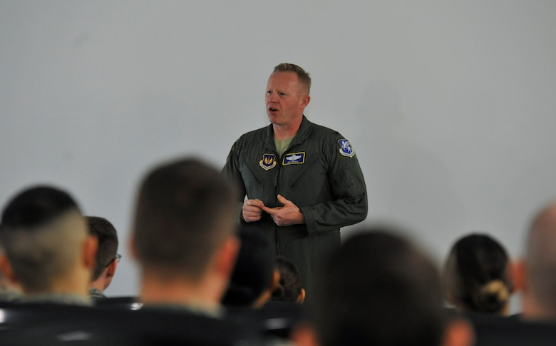 Air Force Col. Joseph McFall, 3rd Air Force vice commander, makes opening remarks at the second annual Atlantic Stripe Conference at the U.S. Air Forces in Europe and Air Forces Africa conference room on Ramstein Air Base, Germany, May 15, 2018. McFall began the conference with anecdotes recalling times in his career when noncommissioned officers stood out, going above and beyond. Some of the situations included deployed environments where NCOs took command of entire sections during manning shortfalls ensuring mission success through continuity. (U.S. Air Force photo by Airman 1st Class D. Blake Browning)