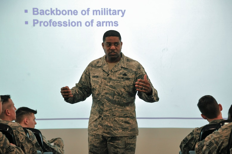 Air Force Chief Master Sgt. Phillip Easton, U.S. Air Forces in Europe and Air Forces Africa command chief, teaches a course on leadership perspective at the second annual Atlantic Stripe Conference at the USAFE- AFAFRICA conference room on Ramstein Air Base, Germany, May 16, 2018. During the professional development conference noncommissioned officers listened to leaders, mentors, and guest speakers advise them on different fundamentals and principles of leadership. (U.S. Air Force photo by Airman 1st Class D. Blake Browning)