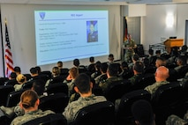 Royal Air Force Warrant Officer Jake Alpert, Allied Air Command command senior enlisted leader, leads a class on leadership philosophy at the second annual Atlantic Stripe Conference at the U.S. Air Forces in Europe and Air Forces Africa conference room on Ramstein Air Base, Germany, May 16, 2018. Sixty-four participants, including one member of the U.S. Army and five coalition partners, attended the four-day event aimed at strengthening the noncommissioned officer tier and equivalent throughout the military. (U.S. Air Force photo by Airman 1st Class D. Blake Browning)