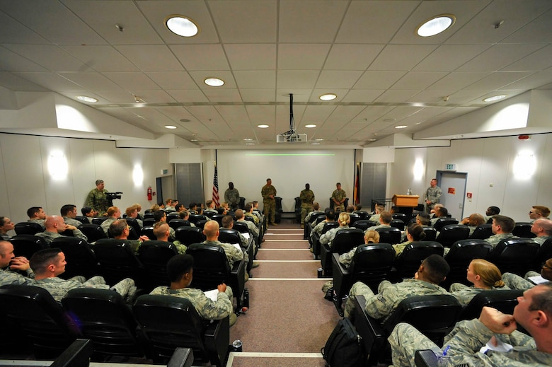 A panel of senior noncommissioned officers introduce themselves at the second annual Atlantic Stripe Conference at the U.S. Air Forces in Europe and Air Forces Africa conference room on Ramstein Air Base, Germany, May 17, 2018. Senior leaders coached, trained and mentored noncommissioned officers during the four-day conference. (U.S. Air Force photo by Airman 1st Class D. Blake Browning)
