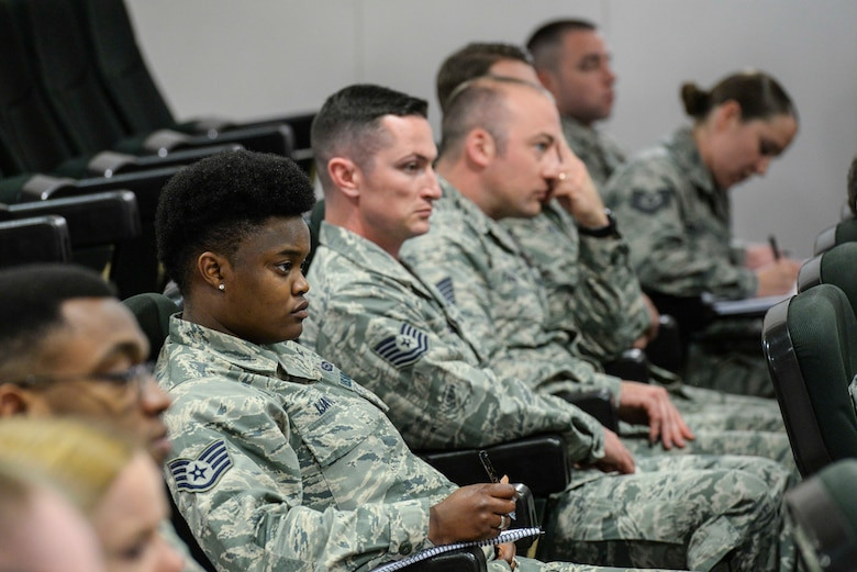 Noncommissioned officers listen in during a panel of senior noncommissioned officers at the second annual Atlantic Stripe Conference at the U.S. Air Forces in Europe and Air Forces Africa conference room on Ramstein Air Base, Germany, May 17, 2018. The professional development conference allowed NCOs time away from official duties to learn from leaders, mentors and guest speakers. (U.S. Air Force photo by Airman 1st Class D. Blake Browning)