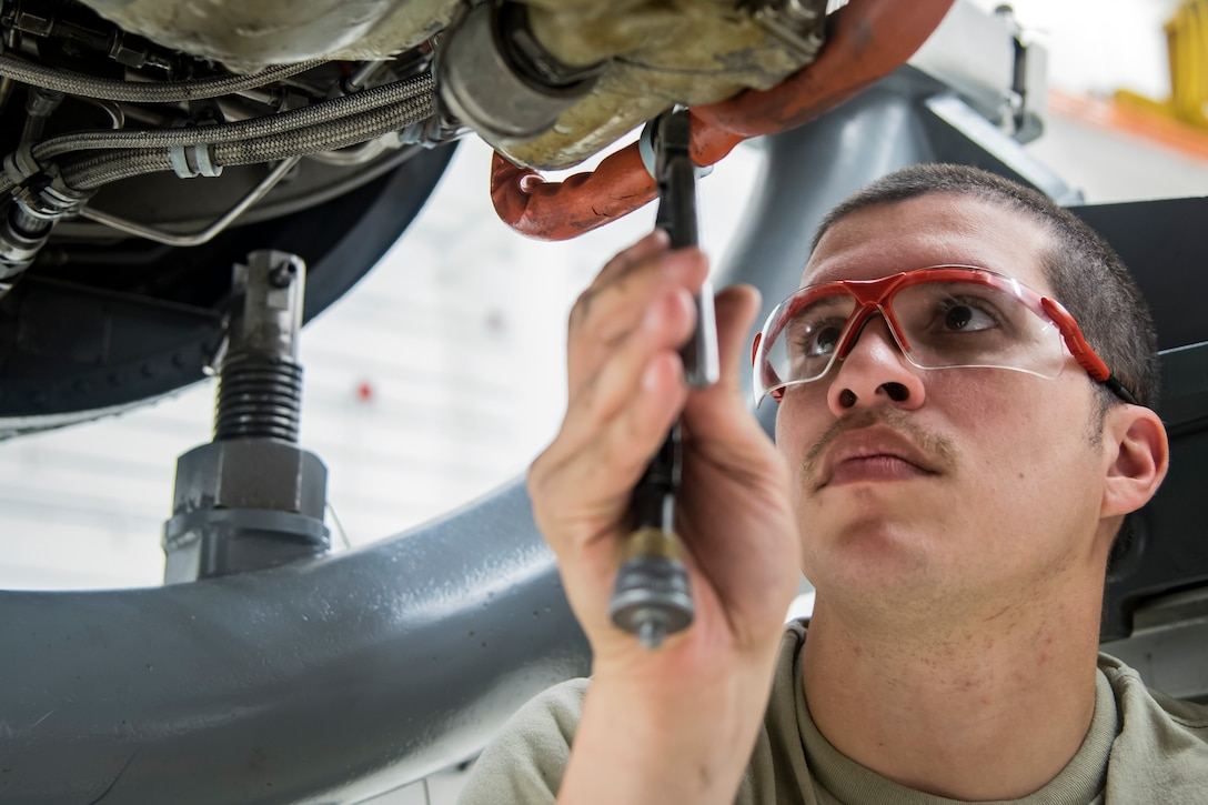 Airman 1st Class Christopher Martinez, 23d Maintenance Squadron (MXS) aerospace propulsion technician, repairs a Turbo-Fan (TF)-34 engine, May 16, 2018, at Moody Air Force Base, Ga. The 23d MXS propulsion flight's mission is to ensure that the A-10C Thunderbolt II TF-34 engine is in satisfactory condition before it's even installed on the aircraft. This flight is responsible for the overall upkeep and maintenance of all TF-34 engines for the Air Force's largest operational A-10 fighter group. (U.S. Air Force photo by Airman 1st Class Eugene Oliver)