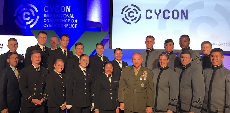 """""""Tere, sobrad! West Point cadets and their Naval Academy peers meet with USMC Commandant Gen. Robert Neller during CyCon 2018 in Tallinn, Estonia, May 30, 2018. Put on by the NATO Cooperative Cyber Defence Centre of Excellence,  this top-tier cyber research gathering allows our future U.S. Army and U.S. Navy cyber leaders to learn from the best."""""""