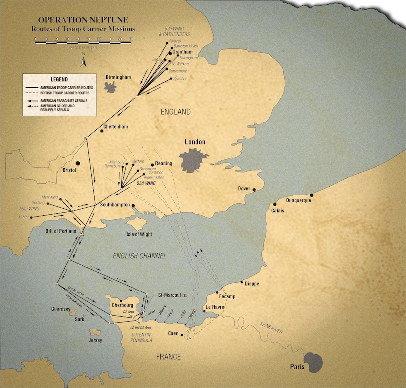 D-Day troop carrier routes map