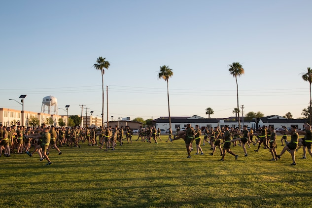 U.S. Marines stationed with Headquarters and Headquarters Squadron (H&HS), Marine Corps Air Station (MCAS) Yuma, Ariz., conduct dynamic warm up exercises prior to a motivational run on MCAS Yuma, Ariz., May 25, 2018. H&HS conducted the motivational run to kick off the Memorial Day 96 hour liberty period, and to say farewell to Lt. Col. James S. Tanis. Lt. Col. Tanis served as the commanding officer of H&HS  for the past two years. (U.S. Marine Corps photo by Sgt. Allison Lotz)