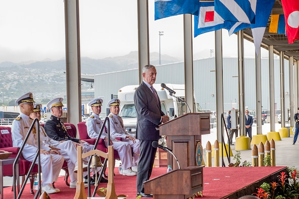 Defense Secretary James N. Mattis speaks at the change-of-command ceremony for U.S. Indo-Pacific Command.