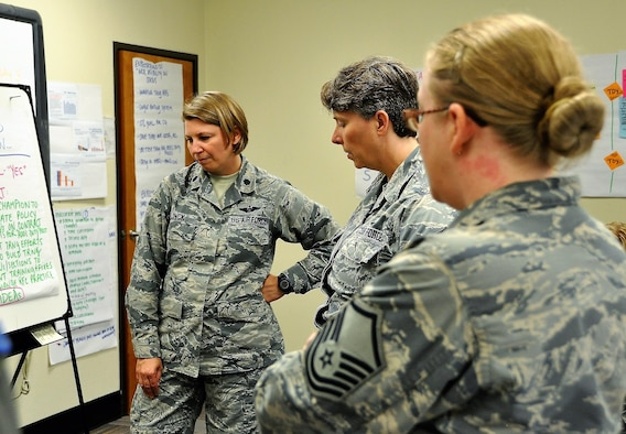 340th FTG CPI manager, Lt. Col. Sara Linck, Master Sgt. Amy Whitman-Rector (C) and Master Sgt. Latisha Melendez survey outbrief statements during the recent Financial Management travel voucher process CPI event. (U.S. Air Force photo by Janis El Shabazz)
