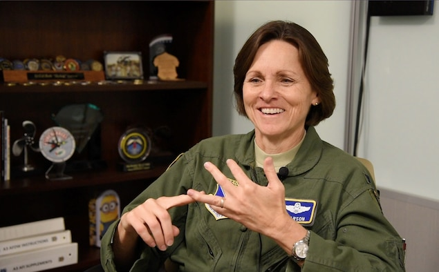 Col. Elizabeth Larson, Air Force District of Washington Operations, Plans, and Requirements director, reflects on her near 30-year career in military and civilian aviation May 21, 2018. Her fini-flight takes place June 6.