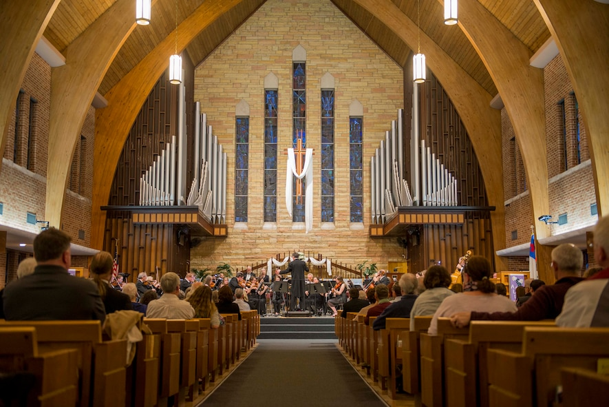 The Belleville Philharmonic Orchestra performs April 28, 2018, at the Saint Paul United Church of Christ in Belleville, Illinois. The orchestra is the second oldest, continuously performing orchestra in the United States and has two members who are also Airmen in the 375th Air Mobility Wing at Scott Air Force Base, Illinois. (U.S. Air Force Photo by Airman 1st Class Chad Gorecki)