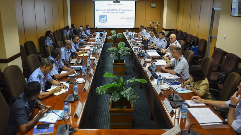 Airmen from the Sri Lanka Air Force and U.S. Air Force work together during the SLAF, USAF Airman to Airman Talks mid-May, 2018, in the SLAF Headquarters, Sri Lanka.