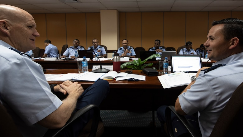 U.S. Air Force Maj. Gen. James O. Eifert, Air National Guard assistant To The commander of Pacific Air Forces (PACAF), and Maj. Mark Lesar, PACAF international affairs division country director for South Asia, talk with leadership from the Sri Lanka Air Force during SLAF, USAF Airman to Airman Talks mid-May, 2018, in the SLAF Headquarters, Sri Lanka
