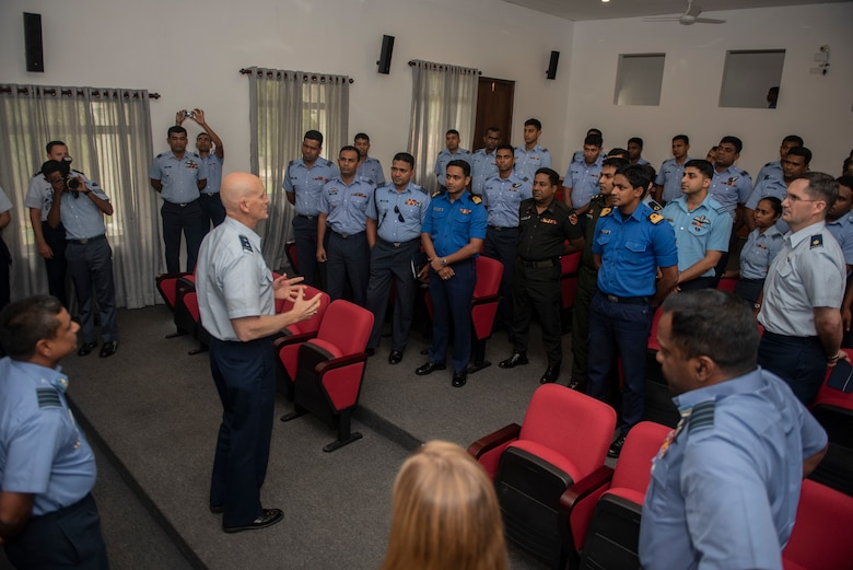 U.S. Air Force Maj. Gen. James O. Eifert, Air National Guard Assistant To The Commander, Pacific Air Forces, talks to students in the Junior Command and Staff College, Sri Lanka, mid-May, 2018.