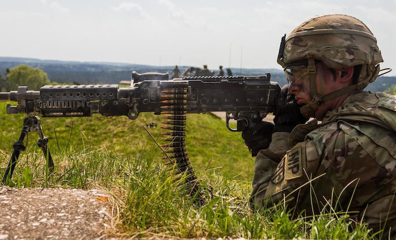 A soldier from the 709th Military Police Battalion