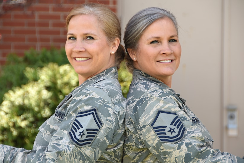 Senior Master Sgt. Tabatha King, newly selected Chief enlisted manager of the 178th Communications Flight, left, and Master Sgt. Tammy Remley, Senior NCO in charge of inspections with the 178th Inspector General Office, pose for a photo April 26 at Springfield-Beckley Air National Guard Base in Springfield, Ohio.