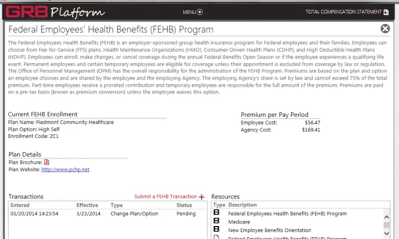 A screenshot of the Government Retirement and Benefits Platform, which can be accessed through MyPers. Open season is scheduled to begin Nov. 12 and will end Dec. 10, during which time federal employees can make changes to their health, dental and vision insurance. (U.S. Air Force graphic by Tech. Sgt. Lauren Gleason)