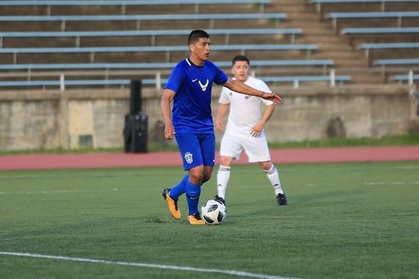 Tech. Sgt. Jose Zepeda, 148th Space Operations Squadron satellite systems operator, plays for U.S. Air Force soccer team at the Armed Forces Tournament June 5, 2018 at Fort Bragg, N.C. Zepeda was one of 18 who were seleceted to be on the U.S. Air Force soccer team and play at the tournament. (Complimentary photo)