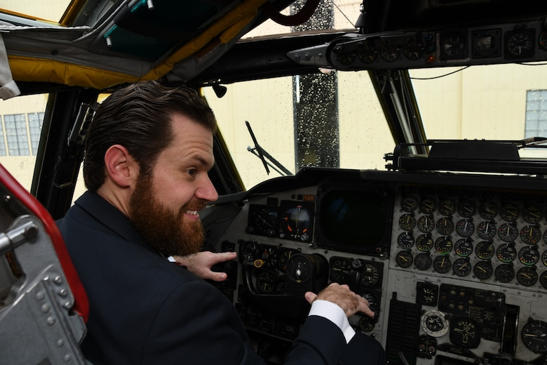 Christopher Steinsholt, 307th Maintenance Group honorary commander, sits in the cockpit of a B-52 Stratofortress at Barksdale Air Force Base, Louisiana, Oct. 13, 2018.  A former B-52 crew chief, Steinsholt enjoyed a tour of the jet after his honorary commander induction ceremony. (U.S. Air Force photo by Staff Sgt. Callie Ware)