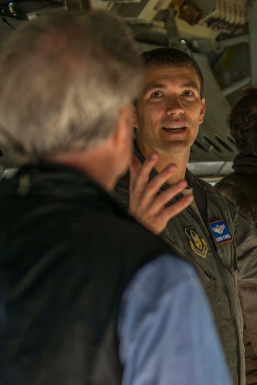 U.S. Air Force Lt. Colonel Warren Carroll with the 93rd Bomb Squadron, speaks with members of the Birmingham, Alabama Military Affairs Council at Barksdale Air Force Base, Louisiana, Oct. 22, 2018.  The group was on base to build stronger ties with the Barksdale AFB community.  (U.S. Air Force photo by Master Sgt. Greg Steele)