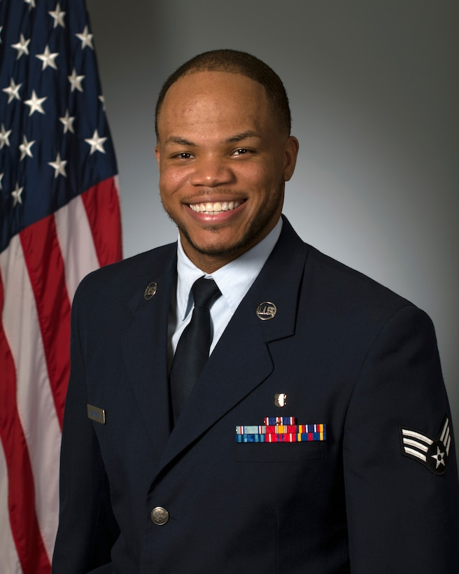 Official photo of Senior Airman Rashawn Thompson.