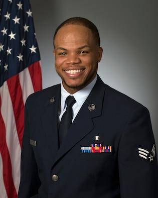 Official photo of Senior Airman Rashawn Thompson.