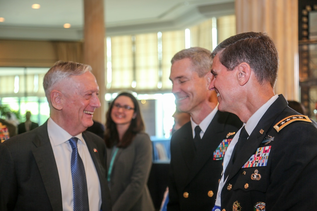 U.S. Secretary of Defense James Mattis, left, and U.S. Army Gen Joseph L. Votel, commander, U.S. Central Command, attend the Manama Dialogue, Oct 27, 2018. The Dialogue hosted a diverse group of prime ministers, defense ministers, foreign ministers, national security advisers, and military and intelligence chiefs who gather for three days of discussions that address the Middle East's most pressing security challenges. (U.S. Army photo by Sgt. Franklin Moore)
