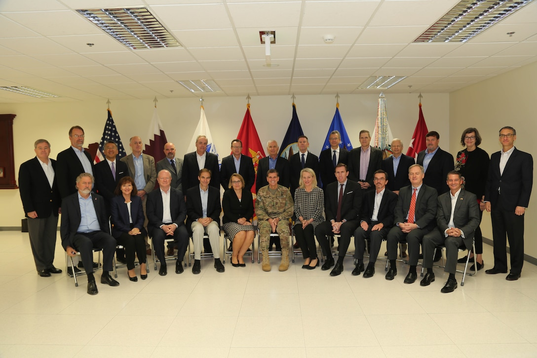 U.S. Army Gen. Joseph L. Votel, commander, U.S. Central Command, center, poses for a group photo with attendees of a regional ambassador conference, Oct. 19, 2018. The conference included chiefs of defense from the Cooperation Council for the Arab States of the Gulf region countries – Kuwait, Bahrain, Oman, Qatar, Saudi Arabia and United Arab Emirates, as well as Jordan and Egypt. The event was designed to underscore the U.S. commitment to the region, help gain a better understanding of regional concerns, and identify opportunities to strengthen relationships between defense chiefs and senior U.S. military leaders. (U.S. Army photo by Sgt. Franklin Moore)