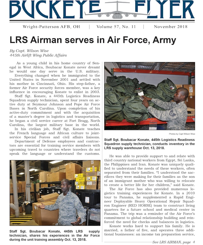 The November 2018 issue of the Buckeye Flyer is now available. The official publication of the 445th Airlift Wing includes eight pages of stories, photos and features pertaining to the 445th Airlift Wing, Air Force Reserve Command and the U.S. Air Force.