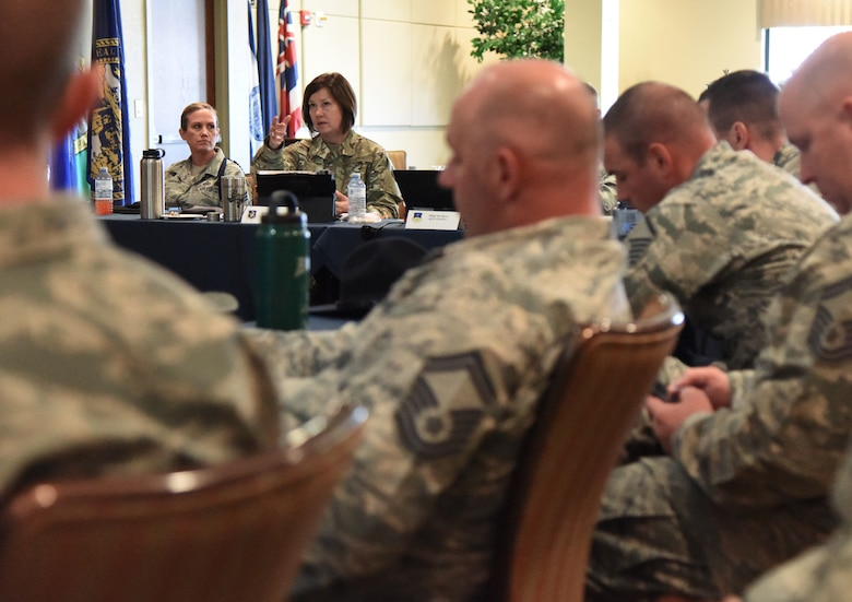 U.S. Air Force Chief Master Sgt. JoAnne Bass, 2nd Air Force command chief, engages in a discussion with attendees during the 2nd Air Force Training Group Superintendent Summit at Keesler Air Force Base, Mississippi, Oct. 30, 2018. The two-day summit allowed training group senior enlisted leaders to share their missions and identify challenges and best practices that could be implemented throughout the command. (U.S. Air Force photo by Kemberly Groue)