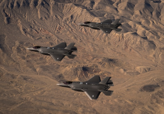 Three U.S. Air Force F-35A Lightning IIs, assigned to the 4th Fighter Squadron from Hill Air Force Base, Utah, conduct flight training operations over the Utah Test and Training Range. The F-35A is a single-seat, single engine, fifth generation, multirole fighter that's able to perform ground attack, reconnaissance and air defense missions with stealth capability. (U.S. Air Force photo by Staff Sgt. Andrew Lee)