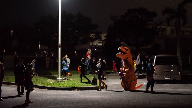 Team Kadena welcomed over 200 local community members and participated in trick-or-treating with them
