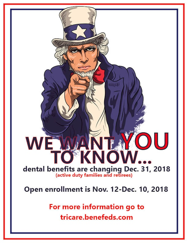 Dental insurence is changing for retirees and active duty family members beginning Dec. 31, 2018. (U.S. Air Force graphic by Airman 1st Class Abbigayle Wagner)