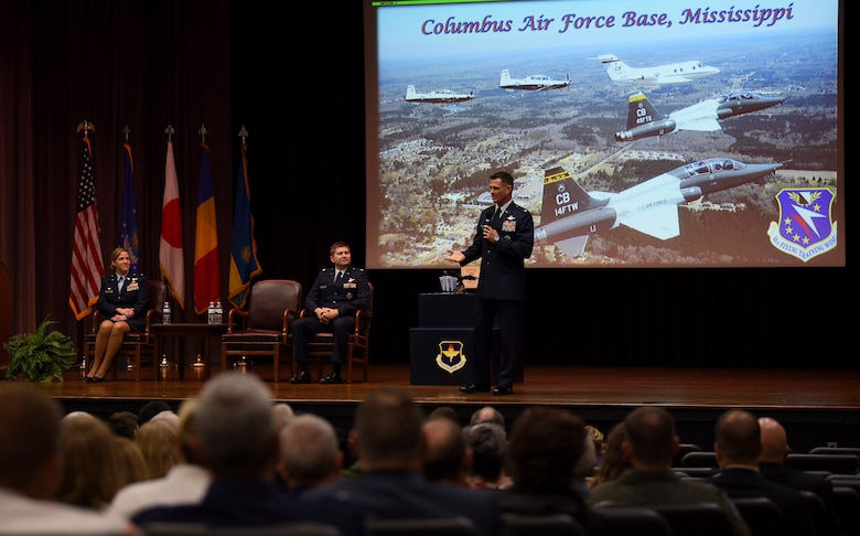 Col. Michael Drowley, 355th Fighter Wing commander at Davis-Monthan Air Force Base, Arizona, speaks during Specialized Undergraduate Pilot Training Class 19-01's graduation, Oct. 26, 2018, on Columbus Air Force Base, Mississippi. Drowley recently completed his final combat mission in the A-10 Thunderbolt II and spoke to SUPT Class 19-01 about how the mission impacted him. (U.S. Air Force photo by Airman 1st Class Keith Holcomb)