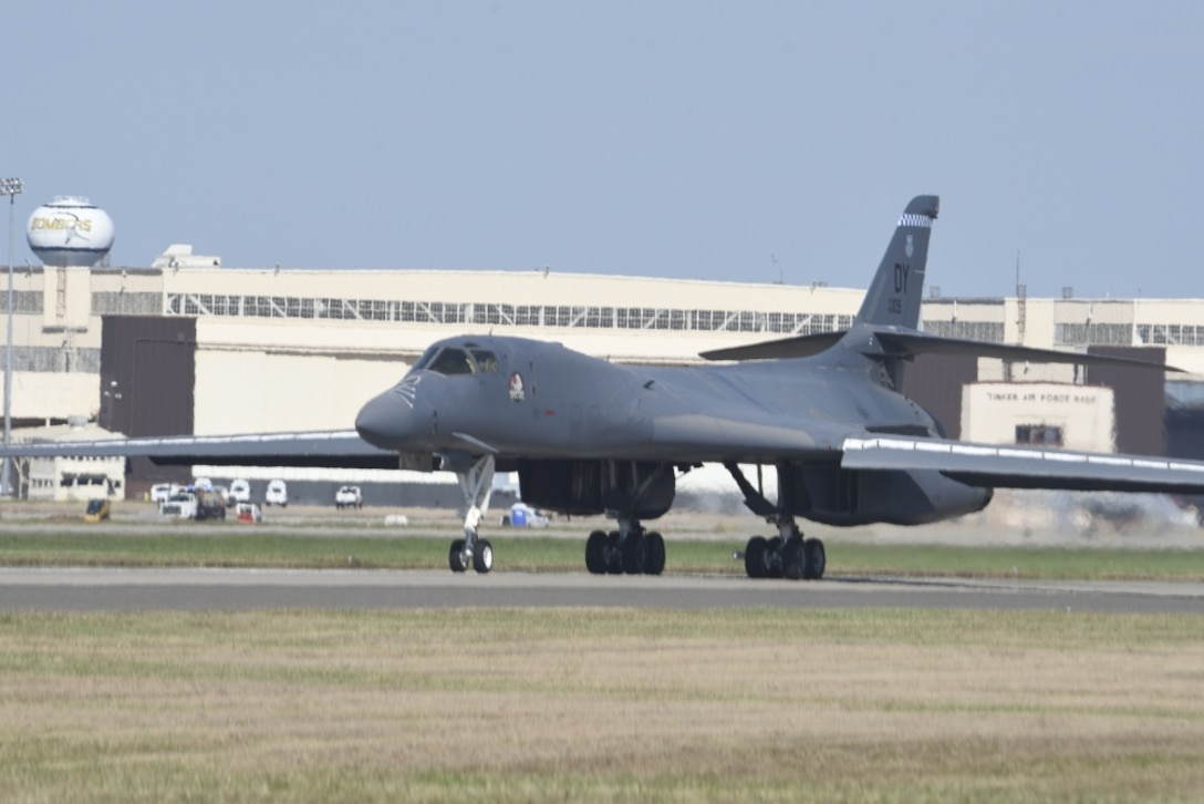 B-1B Lancer, 86-0109, taxis toward the parking ramp at Tinker Air Force Base, Oklahoma, Oct. 26, 2018, after a ferry flight from Midland International Air and Space Port before induction to depot-level maintenance and upgrades with the Oklahoma City Air Logistics Complex. During a routine training flight May 1, the Dyess AFB based B-1B had an in-flight emergency resulting in an attempted ejection. The first crewmembers' seat failed to deploy and the aircraft commander halted the ejection sequence and heroically saved the aircraft and crew by landing at Midland International Air & Space Port.