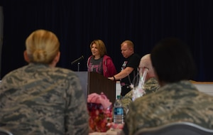 Shelia Coffey, a recent survivor of breast cancer, stands and speaks to a group of people about the hardships of breast cancer and her experience with the disease, Oct. 24, 2018, on F.E. Warren Air Force Base, Wyo.  After skin cancer, breast cancer is the most common form of cancer in women. (U.S. Air Force photo by Airman 1st Class Braydon Williams)