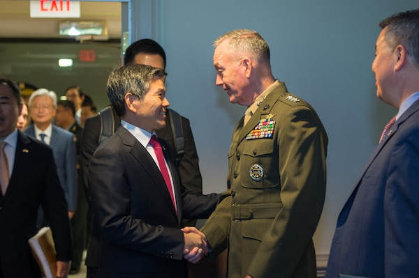 Chairman of the Joint Chiefs of Staff Gen. Joe Dunford meets with the Minister of Defense for the Republic of Korea Jeong Kyeong-doo during the U.S.-hosted 2018 Security Consultative Meeting at the Pentagon, Washington, D.C., Oct. 31, 2018.