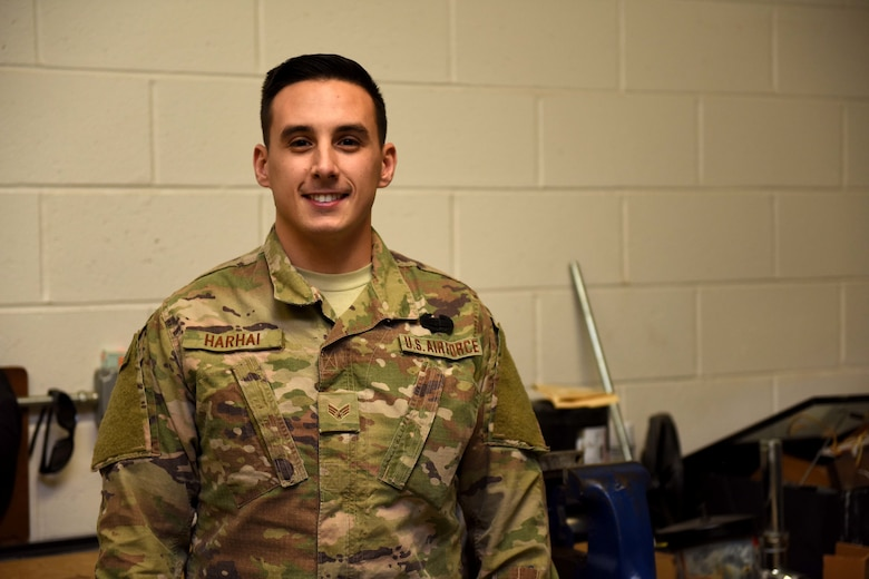 Senior Airman Joshua Harhai, an Engineering Assistant assigned to the 171st Civil Engineer Squadron has been awarded the Army Combat Action Badge during a recent deployment to Bagram, Afghanistan March 18, 2018. (U.S. Air National Guard Photo by Senior Airman Kyle Brooks)
