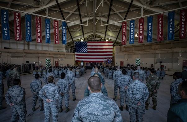 Brig. Gen. Kevin J. Keehn, commander of the New Jersey Air National Guard, speaks during the change of command ceremony for incoming 108th Wing Commander Col. John M. Cosgrove on Joint Base McGuire-Dix-Lakehurst, N.J., Nov. 4, 2018.
