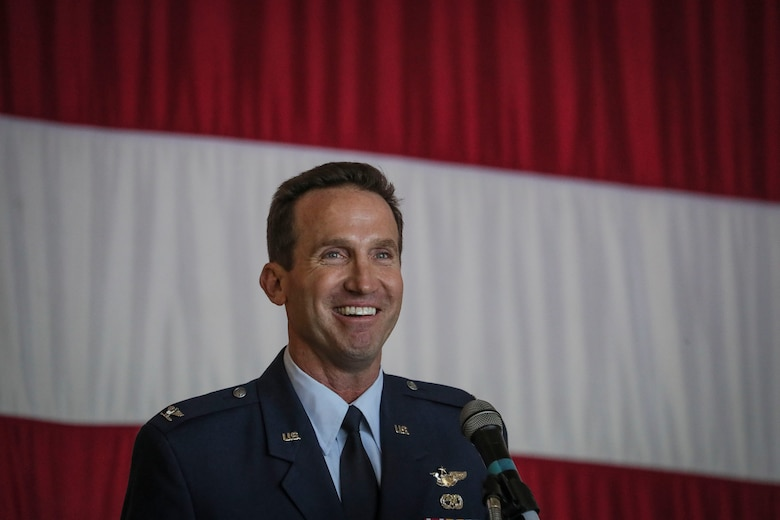 Col. John M. Cosgrove, commander of the New Jersey Air National Guard's 108th Wing, speaks during his change of command ceremony on Joint Base McGuire-Dix-Lakehurst, N.J., Nov. 4, 2018.