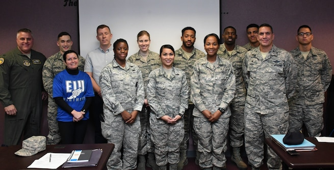 The newest additions to the 932nd Airlift Wing family attend the unit training assembly newcomers briefings Nov. 3, 2018, Scott Air Force Base, Illinois. Each Unit Training Assembly weekend, whether new to the Air Force or prior service coming from active duty, or time away from the Air Force Reserve Command, new Team Scott members gain valuable knowledge about the 932nd AW, Scott AFB, and the local and regional area.  They also get some general assistance to get them started off as a Citizen Airmen. (U.S. Air Force photo by Lt. Col. Stan Paregien)