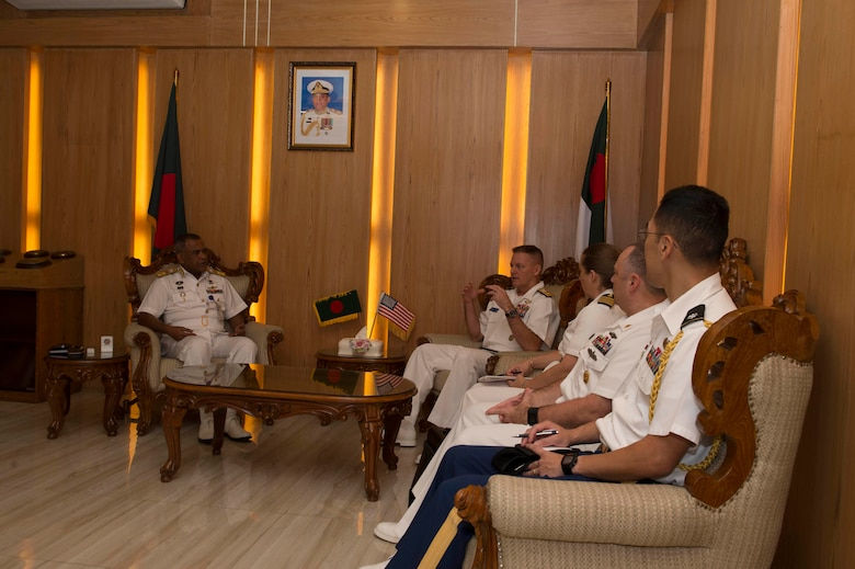 Rear Adm. Joey Tynch, Commander Task Force 73, and Rear Adm. M Abu Ashraf, Commander, Chattogram Naval Area, discuss about the close partnership between the