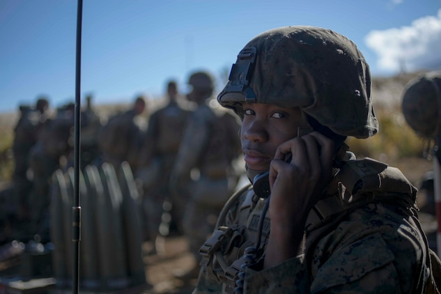 Lance Cpl. Jacob Brown, a field artillery Marine, with 3rd Battalion, 12th Marine Regiment, communicates coordinates to the section chief and other Marines in his sections during Artillery Relocation Training Program 18-3 October 27, 2018, on the Combined Arms Training Complex, Camp Fuji, Japan.  ARTP 18-3 allows Marines with 3rd Battalion, 12th Marine Regiment, 3rd Marine Division, III Marine Expeditionary Force, based off of Camp Hansen Okinawa, Japan to sharpen their understanding for their job field. Brown is a native of the Bronx, New York.