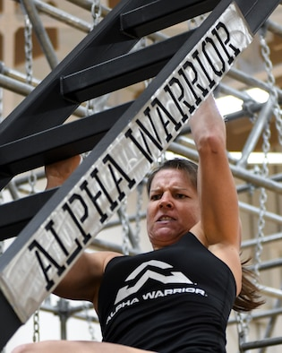 The Alpha Warrior program brings the obstacle-based fitness apparatuses to Air Force bases to host friendly competitions and inspire Airmen fitness.
