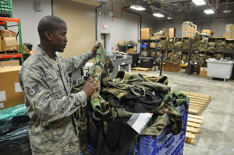 Staff Sgt. Konate, a 445th Logistics Readiness Squadron supply technician, conducts inventory in the LRS warehouse Oct. 13, 2018.
