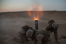 U.S. Marines with Weapons Company, 3rd Battalion, 7th Marine Regiment, attached to Special Purpose Marine Air-Ground Task Force, Crisis Response-Central Command fire 120mm mortars in support of Combined Joint Task Force – Operation Inherent Resolve operations Sept. 18, 2018. CJTF-OIR is the military arm of the Global Coalition to defeat ISIS in designated parts of Iraq and Syria.