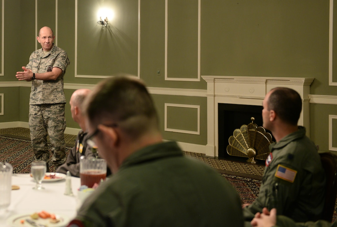 U.S. Air Force Gen. Mike Holmes, the commander of Air Combat Command, speaks to a crowd of Team Offutt members Oct. 30, 2018, inside the Patriot Club at Offutt Air Force Base, Nebraska.